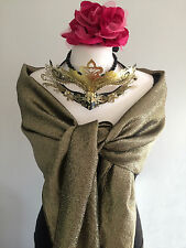 Vintage 50s Gold Lame Evening Wrap Shawl Stole Black Silk Tassels. Party. Gift