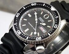 Seiko Black & White 'Zero' Automatic Day & Date Scuba Diver's Watch Custom 6309