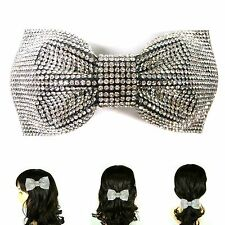 Rhinestone Crystal Large Big Silver Bow Barrette Hair Clip Pin Jewelry Accessory