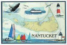 Nantucket Massachusetts Nautical Chart, Whale Lighthouse etc Modern Map Postcard