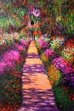 Claude Monet  Reproduction  Oil Painting - Garden Path at Giverny - size 24x36""