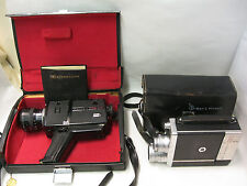 Lot of 2 Vintage Movie Cameras: 16mm Bell Howell 200EE+ 8mm Chinon 809 +cases E5