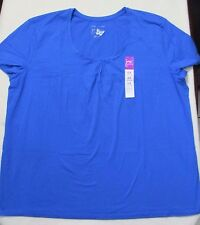 Women Top 5X Blue Solid Scoop  Casual Short Sleeves Cotton Just my Size JMS 1609