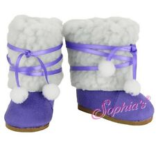 SUEDE BOOTS SHOES SHERPA fit American Girl Dolls GRAPE EWE NEW PURPLE