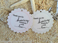 10 White Gift Tags Bomboniere Baby Shower Favour Personalised Thank you Vb