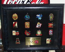 COCA - COLA OLYMPIC PIN SET FRAMED WITH EASEL BACK  LIMITED EDITION