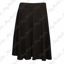 Ladies Women's Plain Stretchy Elasticated Flared Swing Skirt Plus Size 14-28