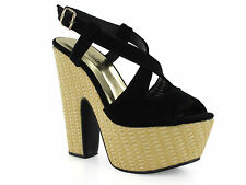 NEW LADIES GIRLS CHOCKERS KATIE BLACK FAUX SUEDE RETRO WEDGES SANDALS HEELS SZ 8