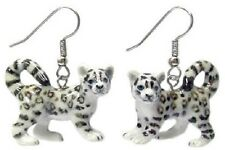JE077 Snow Leopard Earrings - Surgical Steel Porcelain Dangle - little Critterz