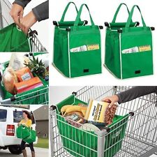 2 x Grocery Grab Shopping Bag Foldable Tote Eco-friendly Reusable Trolley Bags