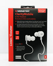 Monster Clarity Mobile In-Ear Buds Headset Headphones w/Control Talk (White)