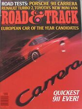 Road & Track magazine 02/1984 featuring Renault 5 Turbo 2, Porsche Carrera