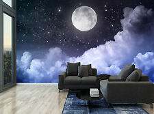 Night Sky Moon Clouds Stars Dark Wall Mural Photo Wallpaper GIANT WALL DECOR