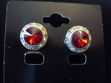 13mm Crystal Siam Red Rondel and Rivoli Button Earrings (J-22)