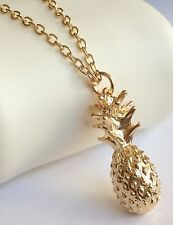 Gold Plated Pineapple Necklace Hawaiian Island Beach Life 20 Inch USA Seller