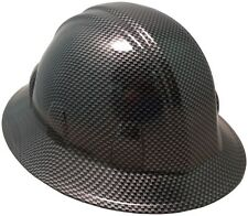 NEW! Carbon Fiber Design Hydro Dipped FULL BRIM Hard Hat with Ratchet Suspension