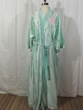 Lovely Vtg 80s Lorraine SATIN Pastel Green WRAP AROUND ROBE Long SZ L Semi Sheer