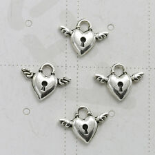 20x Ancient silver 3D Angel Wings Heart Lock charm pendant beaded Jewelry Making