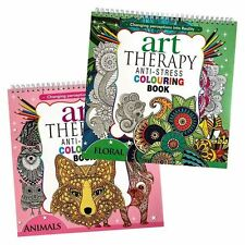 2X Adult Art Therapy Anti-Stress Colouring Book Relax 200 pages Animals Floral