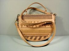 Louboutin Panettone Beige Spike Studs Leather Handbag Shoulder Bag Purse Satchel