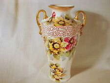 Old Royal Nippon Nishiki 12-1/2in Gold Trimmed Hand Decorated Vase, VG to Exclnt