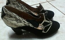 Miss L Fire Snake print Suede Leather Heels Pumps Shoes Pinup Retro 37