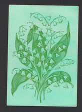Playing  Cards 1 ANTIQUE SQ  CORNER  SPRAY OF LILY OF THE VALLEY FLOWERS  SQ52
