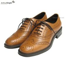 *NEW* Ladies Tan Country Brogues 9 Euro 42 Womens Italian Leather Rubber Sole