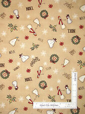 Christmas Whimsy Primitive Snowman Snowflake Toss Cotton Fabric Red Rooster Yard