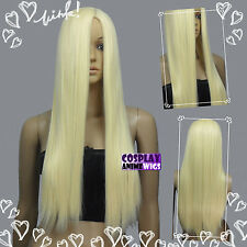 70cm Light Golden Blonde Heat Styleable no bang Long Cosplay wigs 11_LGB