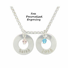 Double Ring Silver Jewel Personalised Engraved  name or date necklace birthday