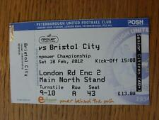 18/02/2012 BIGLIETTO: Peterborough Uniti V bristol city (COMPLETO)