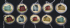 10 Prim Lil Salt Box House Folk Art Metal Rim Round Hang Tags Ornies Gift Ties