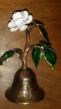 Vintage Bovano Of Cheshire Enamel & Copper Bell W/ White Flower & Green Leaves