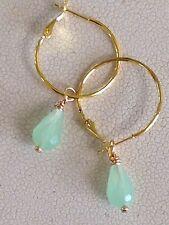 Gold Lever Back Hoops Dangle Sea Foam Green Crystal Earrings. Ocean. Beach