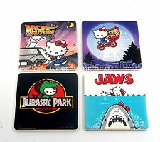 Universal Studios Park Set of 4 Hello Kitty Drink Coaster (Jaws, E.T, JP, BTTF)