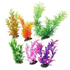 6 Pcs Color Realistic Decorative Aquarium Fish Tank Ornament Plastic Plants