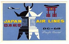 "1955 ""JAPAN"" AIR LINES AIRLINE LUGGAGE LABEL *NICE GRAPHICS"