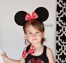 Halloween Xmas Baby Girl Red White Polka Dots Bow Minnie Mouse Ears Headband