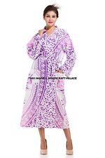 Indian Ombre Mandala Bath Robe Gown Cover Up Long Sleeves Beach Bikini Dress