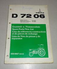 Catalogo parti/Spare Parts List/Lista de REPUESTOS Deutz tracktor D 7206