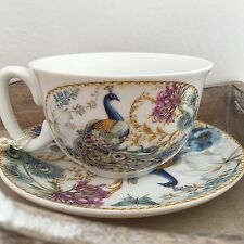 SHABBY CHIC VINTAGE DESIGN TEA CUP & SAUCER GIFT SET  PEACOCK DESIGN DINING