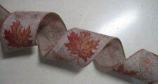 "10 yds FALL LEAVES 2 1/2""  Wired Ribbon Wreath Wedding Crafts Party"