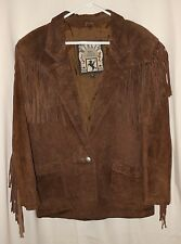 Vtg Women's Fringe Jacket Suede Leather Rodeo Cowgirl Western Style Small