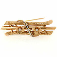 Antique Victorian 14k Rose Gold Seed Pearl Etched Branches & Flowers Brooch Pin