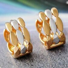 Vintage Womens Round baby 2-tone Gold Plated Huggie Lucky small hoop earrings