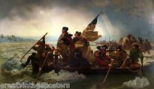 GEORGE WASHINGTON CROSSING THE DELAWARE PAINTING BY LEUTZE ON CANVAS REPRO LARGE