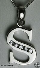 "Initial ""S"" 14K White Gold Pendant 7/8"" BIG 1.1g GORGES"