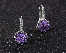Amethyst Sapphire Crystal Topaz Sterling Silver Ear Stud Earrings Gift Box K37