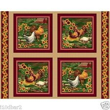 ROOSTER FABRIC 4 PILLOW PANEL OR QUILT TOP VIP 75205 ROOSTERS WINE COLOR BTY NEW